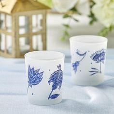 Our Blue Willow Frosted Glass Votives (Set of 4) are great to use as aisle runners leading the way to eternity lit up with these beautiful votives in the most classic of prints. They are great as favor gifts or to reuse in your home after the celebration, to bring touches of illuminating elegance. These frosted glass votives with their vintage blue and white print can make a great addition to the top of a table setting, or as a wedding favor for your guests to keep for years to come. They… Glass Votive Candle Holders, Candle Holder Set, Votive Candles, Tea Light Candles, Tea Lights, Dark Table, Aisle Runners, My Wedding Favors, Kate Aspen