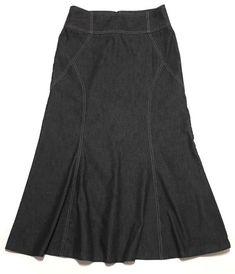 411a45d53cecc Modest Denim Skirt 6 Stretch Black Fit Flare 28W 34L Long Midi NY Clothing   NewYorkClothing