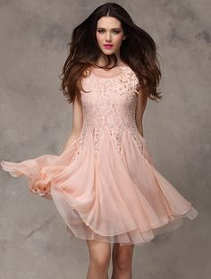 Pink Short Sleeve Contrast Lace Chiffon Flare Dress EUR€22.94