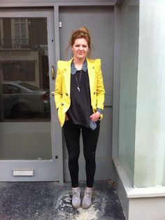 Morning! Here is our Office look featuring the great Yellow Lace Cuff Blazer, yours for only £35.  #streetstyle