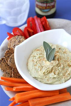 White Bean Dip Recipe with Parmesan Cheese & Sage...Great for game day or an afternoon snack! | cookincanuck.com #vegetarian
