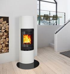 Complete designer stone fireplace with wood burning stove. Wood Burning Logs, Masonry Work, Freestanding Fireplace, Chimney Breast, Stone Cladding, Dream House Interior, Log Burner, Living Room Designs, New Homes