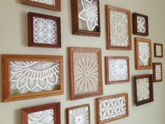 an inexpensive way to fill a big, blank wall - thrifted frames with doilies hot glued inside (bought a box for a dollar at an auction) original pin: http://pinterest.com/pin/33425222204014542/: