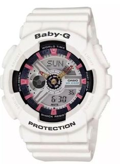 8691f82c6dc4 Casio Ladies Baby-G Analog-Digital - White - Black   Pink Accents - Dial