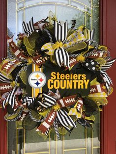 A personal favorite from my Etsy shop https://www.etsy.com/listing/452578508/steelers-wreath
