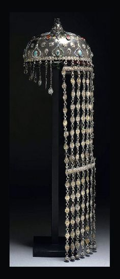 Uzbekistan ~ Bukhara | Headdress; silver, enamel, turquoise and agate (carnelian) stones | 19th / 20th century