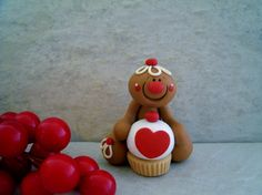 *POLYMER CLAY ~ Gingerbread Man and Cupcake - Holiday Ornament