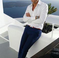 995214bc16 White shirt, navy trousers, hermes belt Ceinture Hermes Homme, Mode Homme,  Ceinture