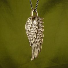 """Angel Wing Necklace Bronze Angel Wing Pendant on 32"""" Gunmetal Chain - Angel Wing Jewelry. $48.00, via Etsy."""