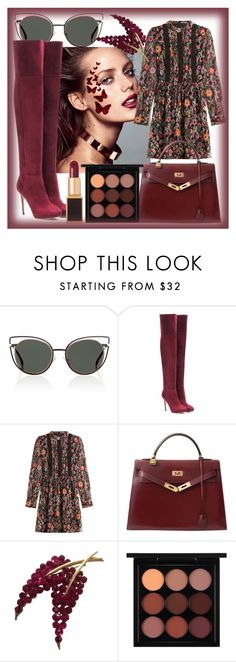 """""""Burgundy babe"""" by hanisi ❤ liked on Polyvore featuring Fendi, Jimmy Choo, RED Valentino, Hermès, Trifari, MAC Cosmetics and Tom Ford"""