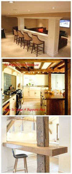 Wondering what to do with that unsightly support pole in the basement?  Wonder no more.  Check out these 10 Ideas for how to incorporate support beams in your room design. www.AddValueToYourHome.ca