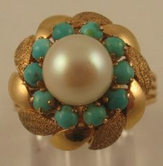 Estate 7mm Genuine Cultured Pearl Turquoise 14k Yellow Gold Cocktail Ring