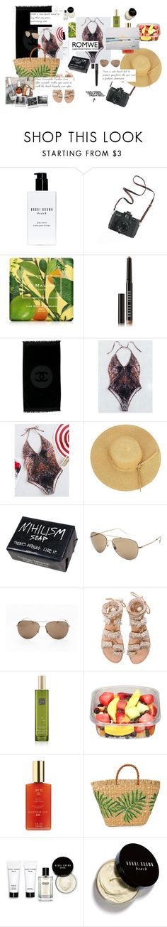 """""""One-Piece Swimwear"""" by pandatheod ❤ liked on Polyvore featuring Bobbi Brown Cosmetics, Madewell, Jo Malone, Chanel, Gucci, Elina Linardaki, Rituals, Hampton Sun and Aranáz"""