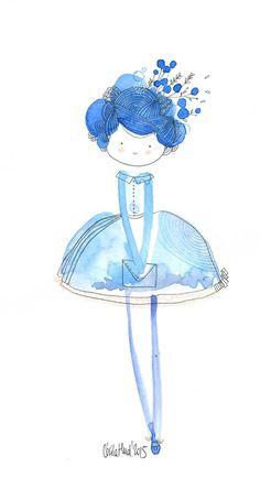 """Pretty in blue """"ourlée de cellophane, les pieds dans l'encrier, le papier buvait jusqu'à ses joues diaphanes"""". Aquarelle de Cécile Hudrisier (Toulouse)"""