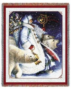 Santa & Polar Bears (Tapestry Throw)