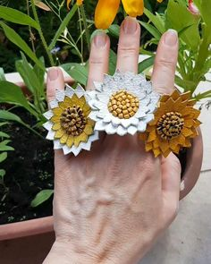 Leather Ring, Leather Jewelry, Etsy Handmade, Handmade Jewelry, Daisy Ring, Body Adornment, Gifts For Nature Lovers, Leather Pieces, Leather Accessories