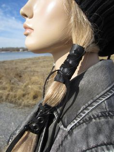 Black Leather Hair Wrap Ponytail Holder Hair by Vacationhouse, $15.00