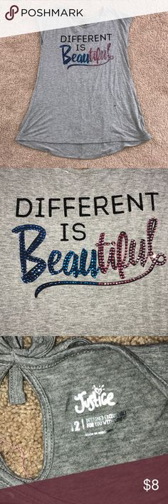 Different is Beautiful Shirt Different is Beautiful Shirt from Justice, Size 12 in kids, no stains, holes, or snags Justice Shirts & Tops Blouses