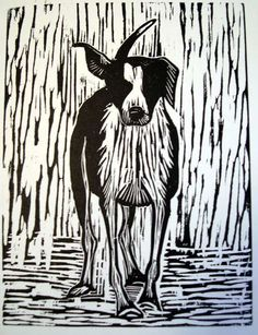 Scratch the Dog, Howard Towll, woodcut