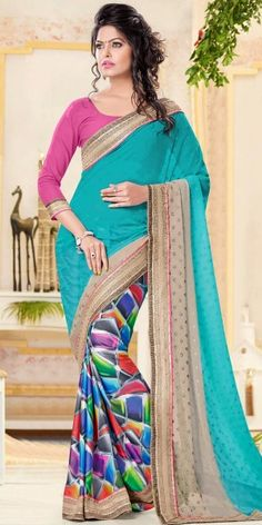 Exotic Blue And Multi-Color Crepe Printed Saree With Blouse.