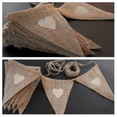 My DIY rustic Engagement Party bunting made with twine, burlap/ hessian and finished with ivory hearts painted on top DIY Party Decorations Wedding Bunting, Party Bunting, Diy Wedding, Rustic Wedding, Bunting Ideas, Hessian Wedding, Wedding Ideas, Diy Bunting, Baby Shower Bunting