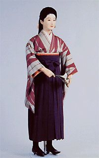 The basic image of the Meiji schoolgirl: a simple kimono (usually a yabane-patterned komon in depictions, but they were much more varied historically), plain hakama and Western shoes- usually riding boots.  Thus was comprised the uniform of the newly-schoolable Meiji girl.  Previously, education had been only for men, but during Meiji Westernization and Modernization, girls were enrolled in school for the first time. The uniform, which varied, was compiled from things most girls already…