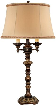 Italian Bronze with Faux Marble Accents 4-Light Table Lamp -