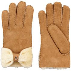 Ugg Australia Shearling Bow Glove ($190) ❤ liked on Polyvore featuring accessories, gloves, shearling gloves, bow gloves, ugg australia, christmas gloves and evening gloves