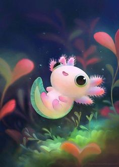 The most kawaii axolotl Kawaii Drawings, Cute Animal Drawings Kawaii, Ink Drawings, Cute Creatures, Cute Fantasy Creatures, Cute Baby Animals, Cute Cartoon Animals, Anime Animals, Cute Wallpapers