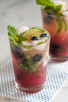 Blueberry mojito cocktail is delicious mixed drink with fresh blueberries,lime juice and rum.