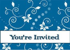 Printable Party Invitations: Blue Flowers Party Invitation