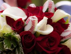 We have baseball roses to add to your wedding bouquet!  They're made from baseballs to create a unique look.  #baseballwedding #stwdotcom