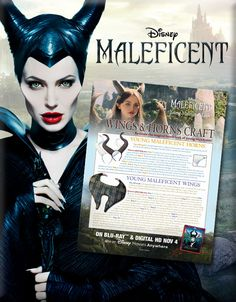 This Halloween You Can Be Young Maleficent With This DIY Craft To Make Your Own Wings & Horns. http://www.wdistudio.com/MAL/pnt/MAL_youngMal.pdf