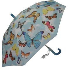 KIDS:  Galleria Butterflies Umbrella  This pretty kids umbrella features colourful butterflies on a blue sky background. Steel shaft and frame with durable fibreglass ribs. Curved plastic handle with name-tag and patented non-protruding T-shaped tips and pinch-proof runner for safety, manual opening and closing.    CAD $20.00    http://www.raindropsto.com/umbrellas/kids-umbrellas/galleria-butterflies-umbrella