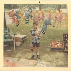Old Vintage Photograph Little Boy Standing Among A Bunch of Adorable Balloons