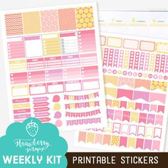Weekly kit printable: PINK LEMONADE Page flags by StrawberryScraps