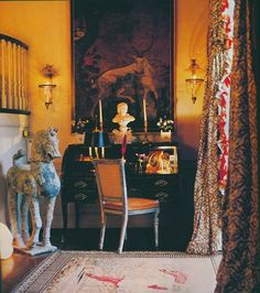 Timeless Washington, D.C. Federal-style townhouse of Evangeline Bruce. A small hall off of the drawing room; the curtains were made by John Fowler and once hung in the Bruces' residence in Brussels. Published AD Sept 1978, Horst photographer