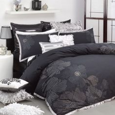 Keiko Black Quilt Cover Set by Logan & Mason Platinum