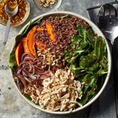 Make this satisfying salad in the evening and enjoy one portion for dinner, then pack the remaining portion for lunch the next day. Loaded with protein- and fiber-rich ingredients like chicken, sweet potato and quinoa plus power greens, this meal is nutrition-packed!