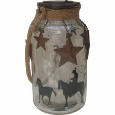 Charmant Red Shed Glass Jar Solar Lantern With Star Charms