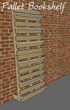 """I want to make this!  DIY Furniture Plan from Ana-White.com  A simple bookcase made from pallets and a few 1x4's. The measurements will vary based on the size of the pallets used. Be on the lookout for donor pallets to provide wood for the shelves and support pieces. If you don't have enough pallet wood to make the shelves you'll need to buy some 1x4's In sketchup the shelves are 36"""" long."""