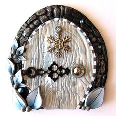 Winter Frost Fairy Door Pixie Portal by Claybykim on Etsy, $22.00