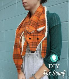 DIY Fox Scarf with Free Pattern And! I have this dang homespun flannel in this EXACT print!!!