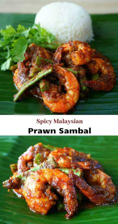 Malaysian Prawn Sambal (Sambal Shrimp Sambal Udang) is a spicy dish made with a blend of flavors including lemongrass garlic and ginger. The star of the dish beyond the plump shrimp are the chili peppers. This dish is meant to be spicy! - May 25 2019 at Fish Recipes, Seafood Recipes, Indian Food Recipes, Asian Recipes, Cooking Recipes, Healthy Recipes, Cooked Prawn Recipes, King Prawn Recipes, Asian Desserts
