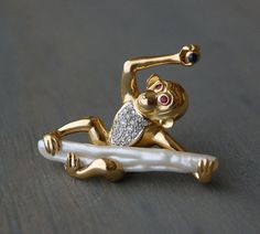 Solid Vintage 18k Monkey Baroque Pearl Brooch Pin - Pave Diamonds, Ruby Eyes, Sapphire by MintAndMade