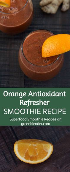Orange Antioxidant Refresher Smoothie on Green Blender Healthy Juices, Healthy Smoothies, Healthy Drinks, Healthy Eating, Yummy Smoothie Recipes, Delicious Vegan Recipes, Vitamix Recipes, Drink Recipes, Smoothie Popsicles