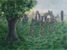 Fantasy Watercolour Painting. Ghostly Monks. abbey ruin. Landscape. Original. by ArtWorkBySue on Etsy