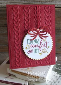 Seeing Ink Spots: Pretty Pines Part 2 Monday Montage I like the cable knit embossing folder from Stampin' Up! Homemade Christmas Cards, Stampin Up Christmas, Christmas Cards To Make, Noel Christmas, Xmas Cards, Handmade Christmas, Homemade Cards, Holiday Cards, White Christmas