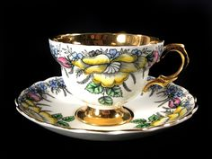 Stunning Rosina Teacup and Saucer, Rare Gold Banded Floral Tea Cup Mad – The Vintage Teacup