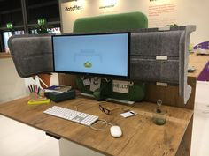 Totem prototype from Dataflex. Acoustic surround screen that rises and falls with your desk Acoustic, Corner Desk, Furniture, Home Decor, Corner Table, Decoration Home, Room Decor, Home Furnishings, Home Interior Design